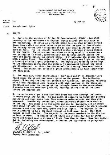randlsham ufo Halt memorandum