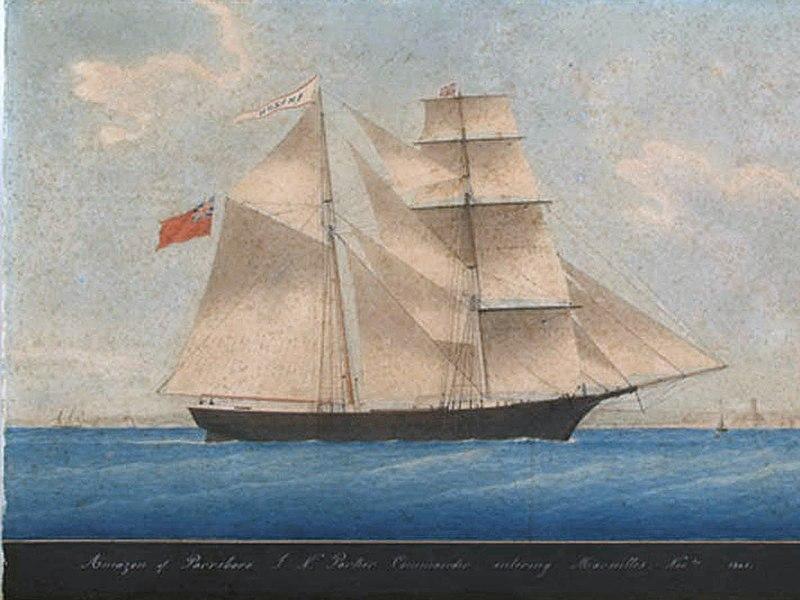 Картина неизвестного художника. Корабль Мария Селеста, тогда еще Амазонка