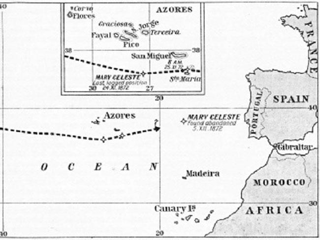 Маршрут и место обнаружения Марии Селесты