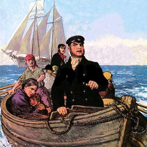 Одна из версий - эвакуация с корабля по причине эпидемии. Картина неизвестного автора