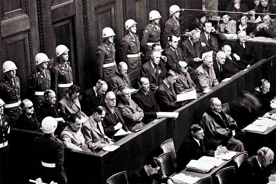 Скамья подсудимых на Нюрнбергском процессе