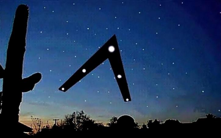 НЛО в виде буквы V над Фениксом