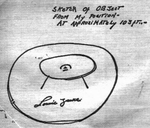 Рисунок летательного аппарата, сделанный Л. Замора