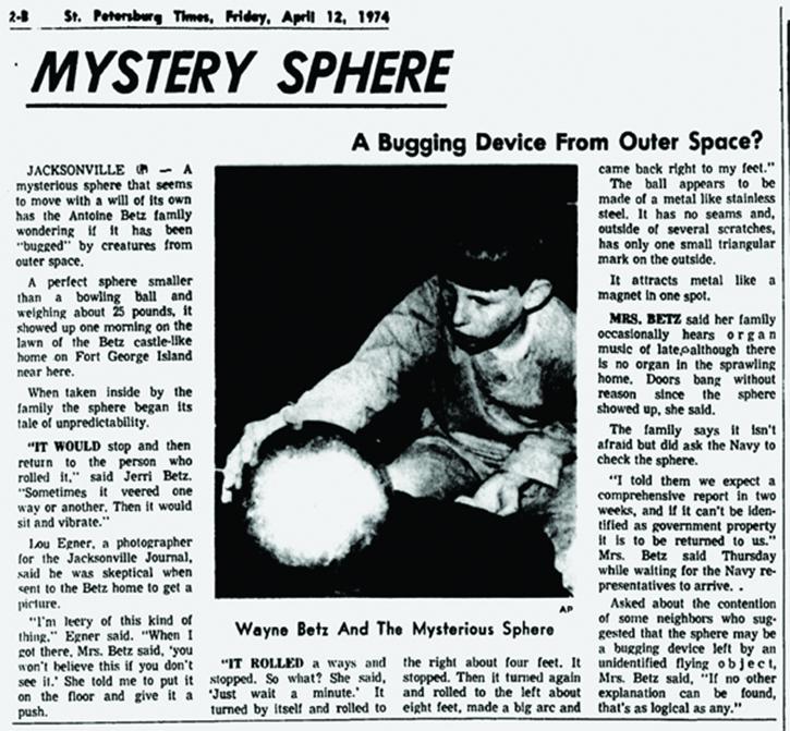 Публикация о таинственной сфере в газете 1974 года