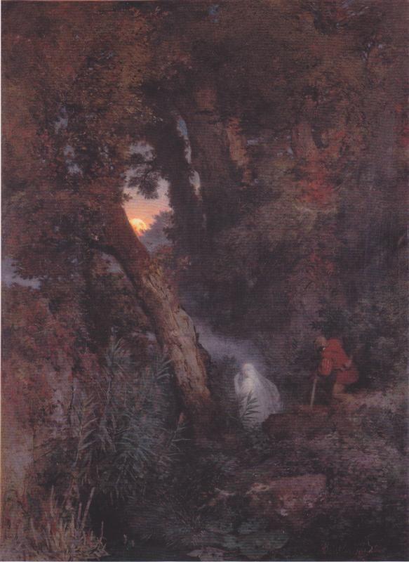 А. Бёклин. «Блуждающий огонь» . Картина 1882года.