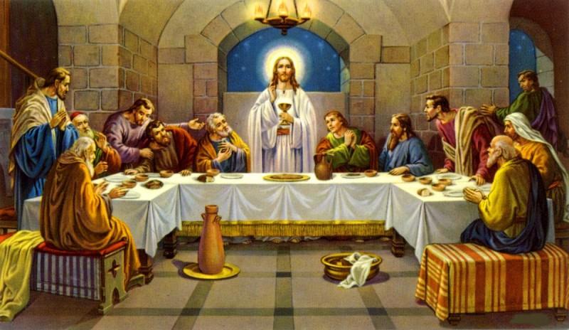 Иисус Христос на Тайной вечере с чашей в руках