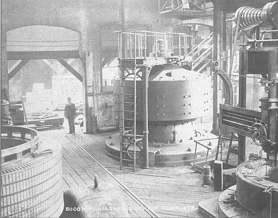 Никола Тесла в машинном зале Ниагарской ГЭС