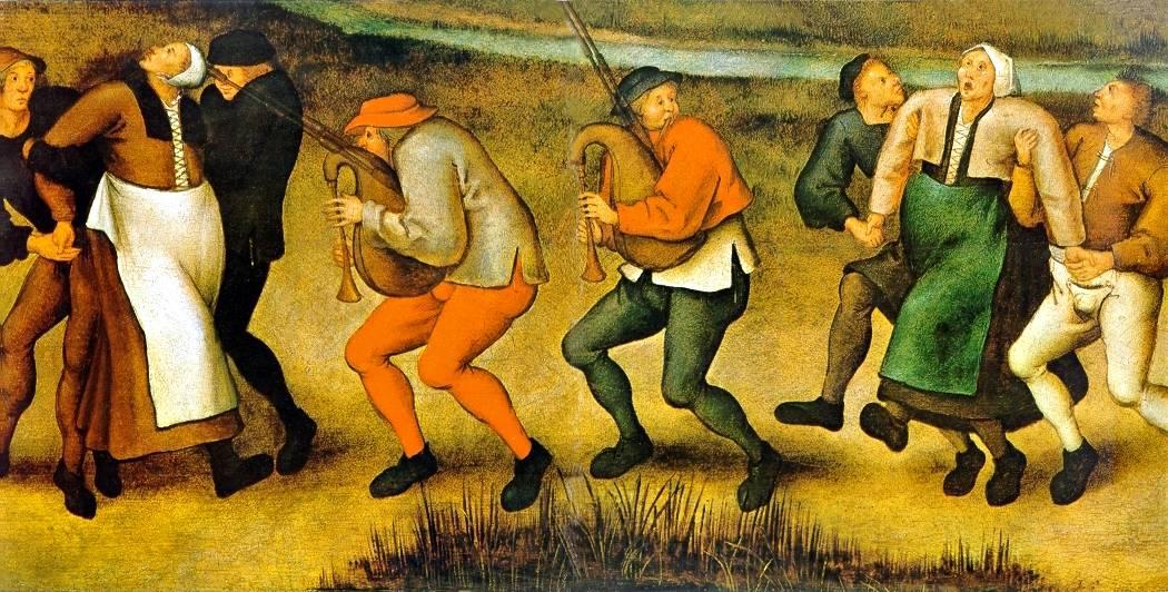 Женщины в танцевальной лихорадке. Картина Питера Брейгеля Младшего