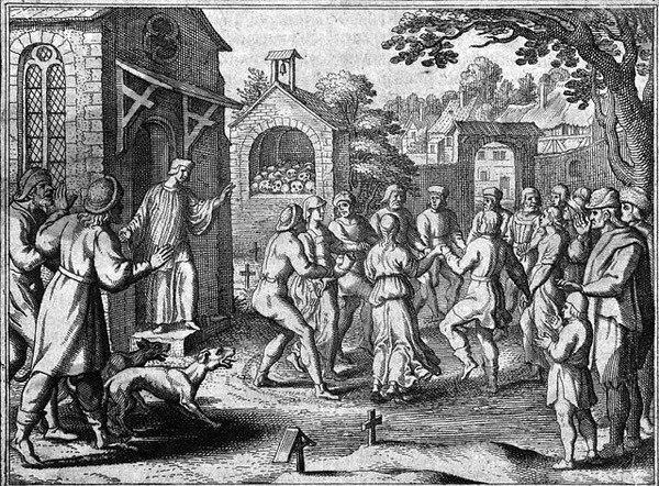 Средневековая танцевальная чума. Рисунок очевидца