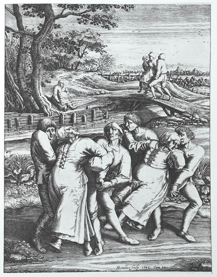Танцевальная чума. Гравюра 1642 года Хендрика Хондиуса