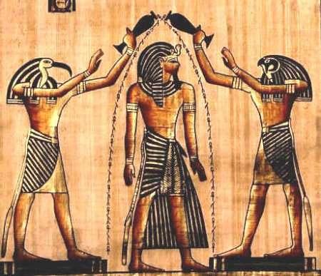 Боги и фараон. Древний рисунок