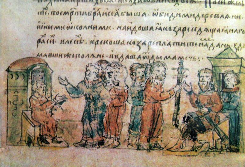 Дань полян хазарам. Миниатюра. 15 век