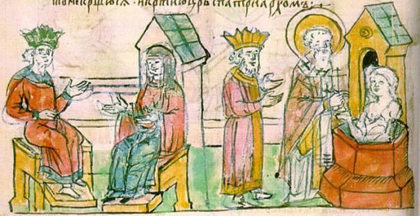 Крещение Ольги в Царьграде. Миниатюра из Повести временных лет