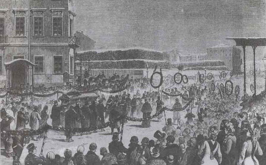 Похороны Достоевского. Рисунок В. Порфирьева