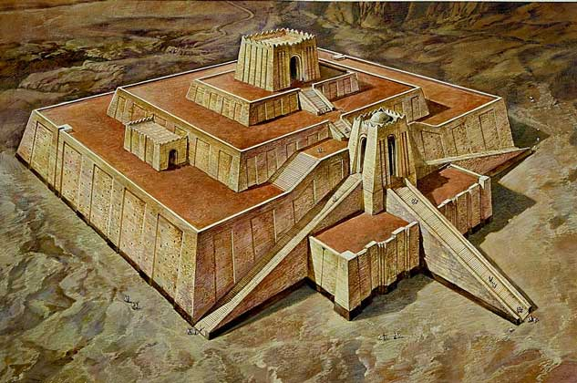 Шумерский зикурат - древнее культовое сооружение. Реконструкция
