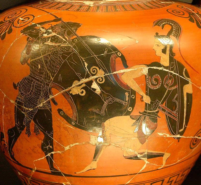Бой Геракла с амазонками. Изображение на древней вазе