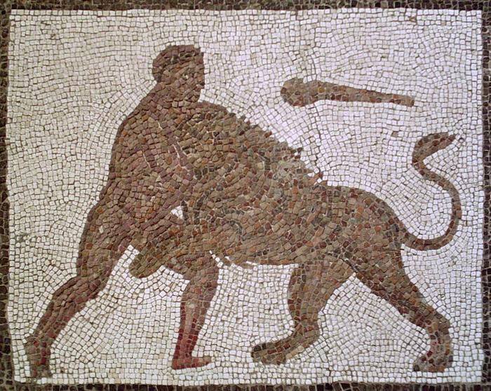 Геракл и немейский лев. Древняя мозаика