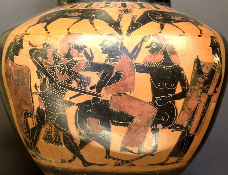 Геракл, кентавр Нессон и Деянира. Древнегреческий сосуд