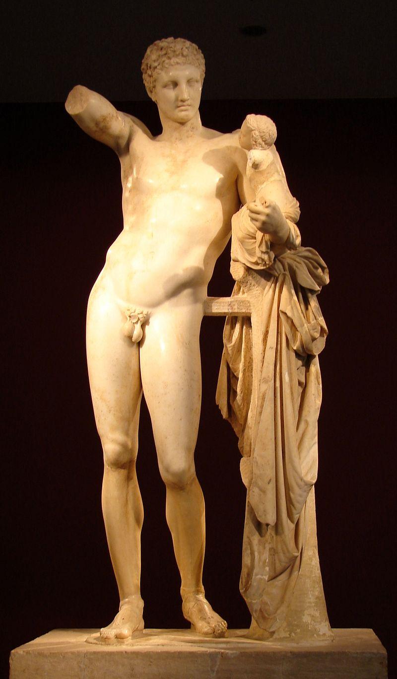 Гермес с младенцем Дионисом. Мраморная статуя, 4 век до н.э.