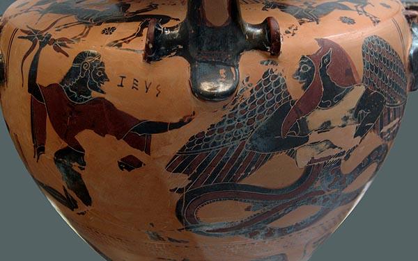 Зевс побеждает дракона Тифона. Роспись древней амфоры
