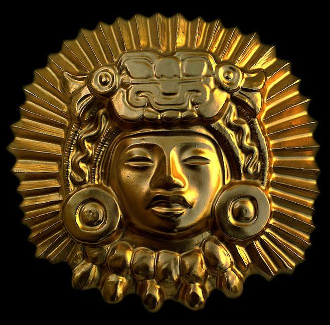 Изображение Бога Солнца, вылитое из золота