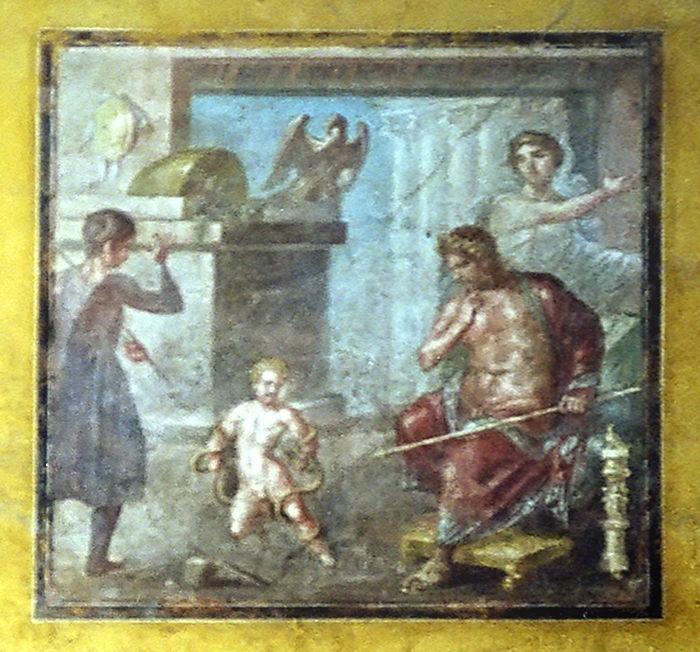 Младенец Геракл душит змей. Помпейская фреска