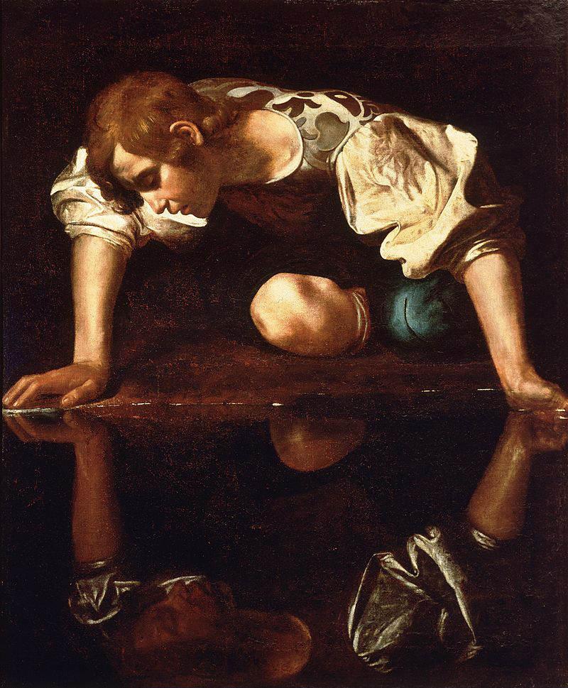 Нарцисс у ручья Картина Караваджо, конец 16 века