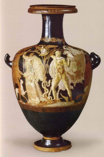 Спор Афины с Посейдоном. Изображение на вазе 4 век до н.э.
