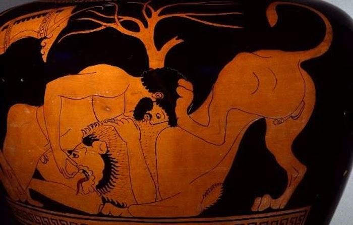 Сражение Геракла с Немейским львом. Изображение на сосуде 490 г. до н.э.