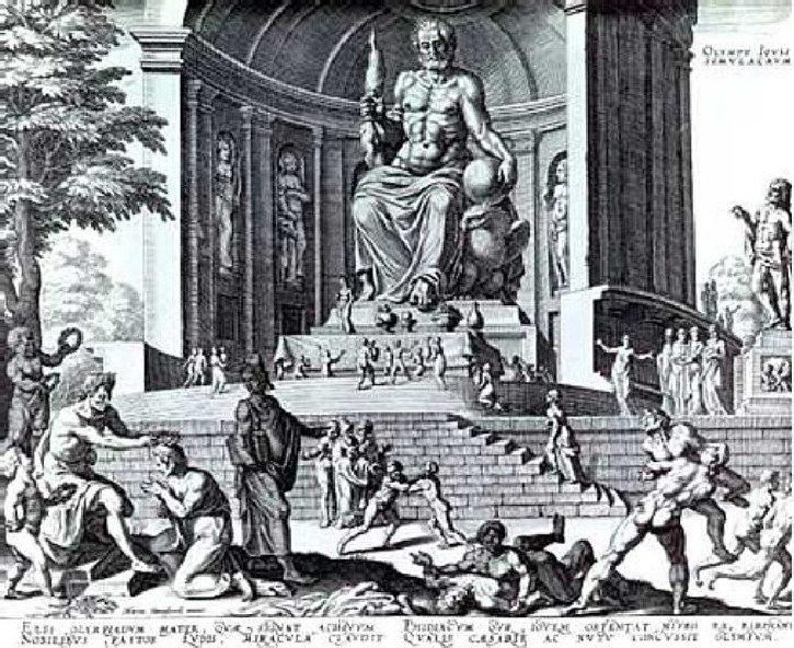 Статуя Зевса Олимпийского. Гравюра Филиппа Галле, 16 век