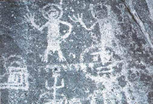 Мексика. Древние наскальные рисунки с изображением людей в скафандрах